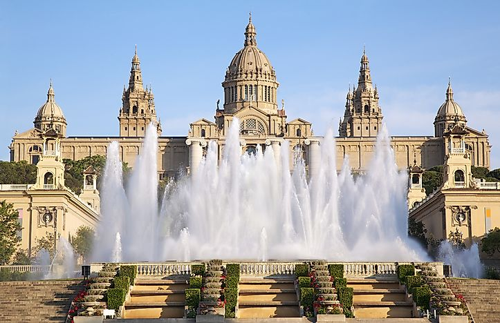 The Magic Fountain of Montjuïc in front of the Museu Nacional d'Art de Catalunya.