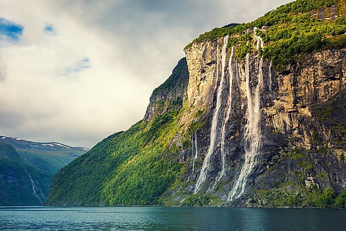 The waterfalls of Geiranger, Norway.