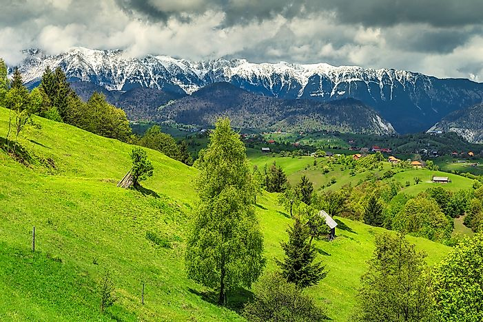 The beautiful Piatra Craiului Mountain range in Transylvania, Romania.