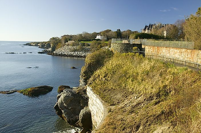 Cliff Walk offers views of the coast and of Newport's Gilded Age mansions.