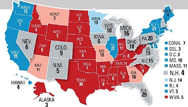Swing States With The Most Electoral Votes In The US - Electoral votes us map