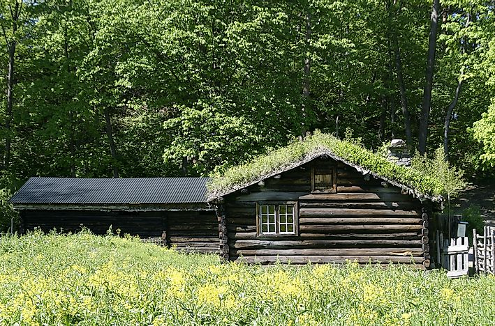 A log cabin found in Northern Europe.