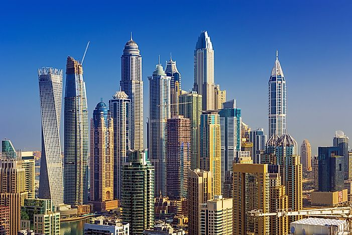 Dubai is home to a large collection of skyscrapers.