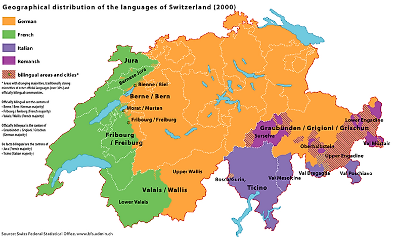 Languages Spoken In Switzerland WorldAtlascom - Languages spoken by country
