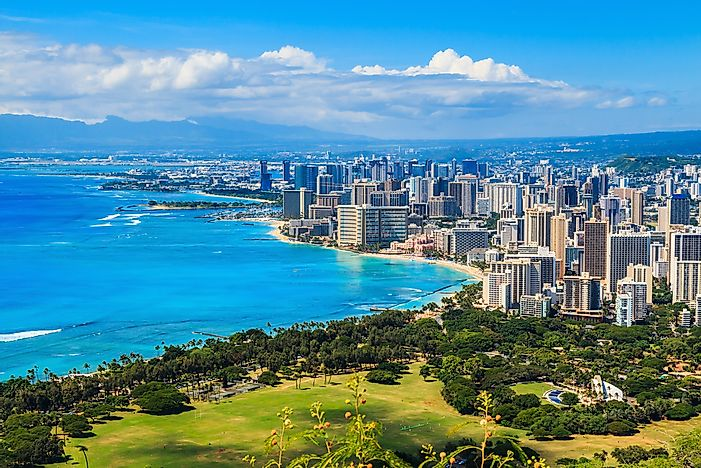 The skyline of Honolulu, the largest city as well as capital of Hawaii.