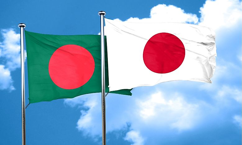 The flag of Japan, right, with the flag of Bangladesh.