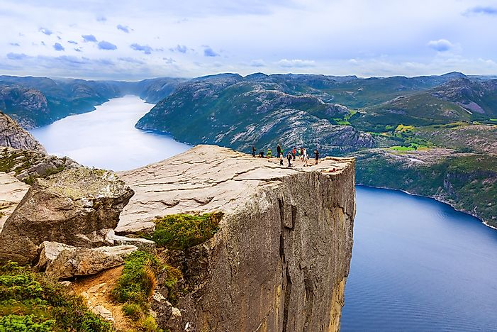 Tourists explore Lysefjorden.