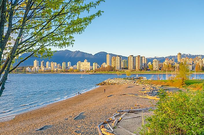 Kitsilano Beach with a view of downtown Vancouver.
