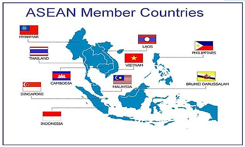 Asean countries worldatlas asean countries map representing sciox Image collections