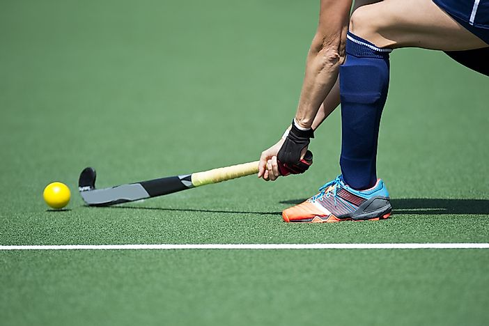 A field hockey player.