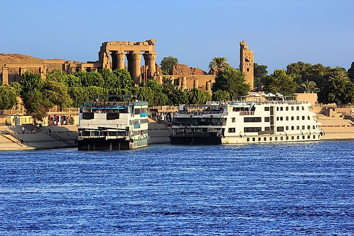 Cruise ships docked on the Nile River.