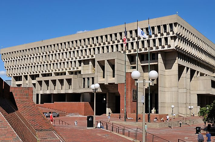 Boston City Hall in its brutalist form.