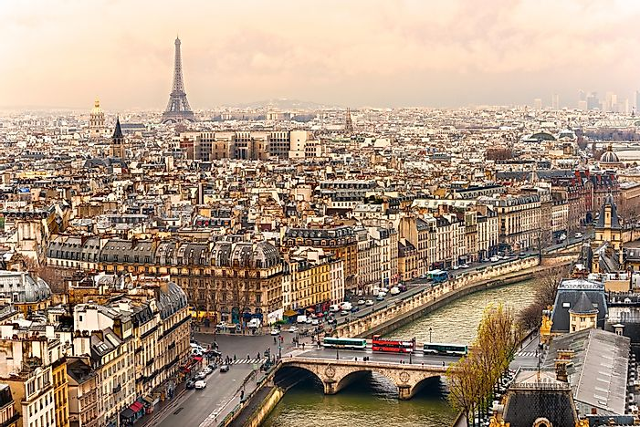 View of Paris with the Eiffel Tower in the background.