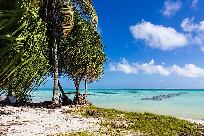 A tropical beach in Kiribati. Tourism is a growing industry for the island nation.
