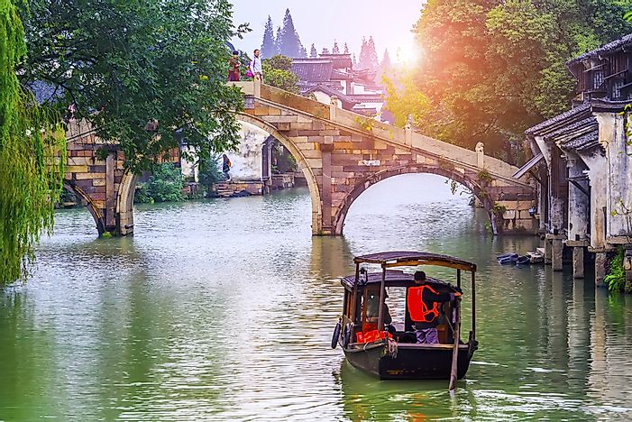 Wuzhen Water Town is located just outside of Hangzhou, and is a popular tourist destination.