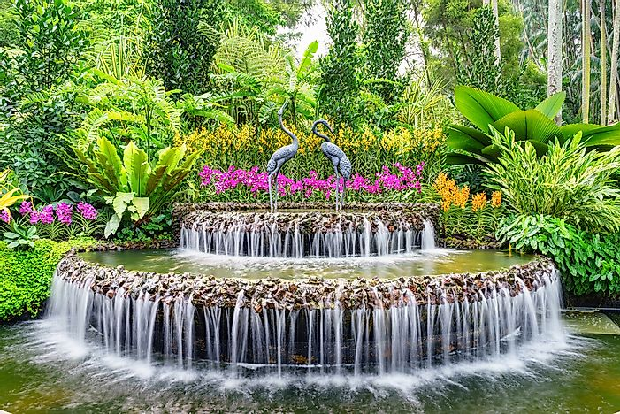 A fountain inside Singapore's National Orchid Garden.