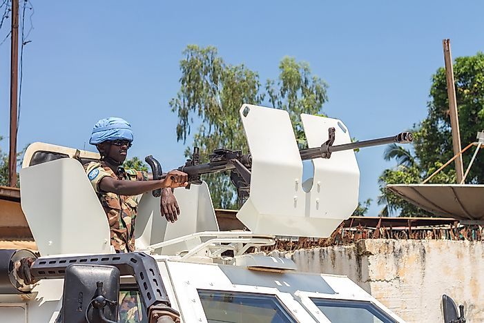 Peace keepers in the Central African Republic. Editorial credit: sandis sveicers / Shutterstock.com.