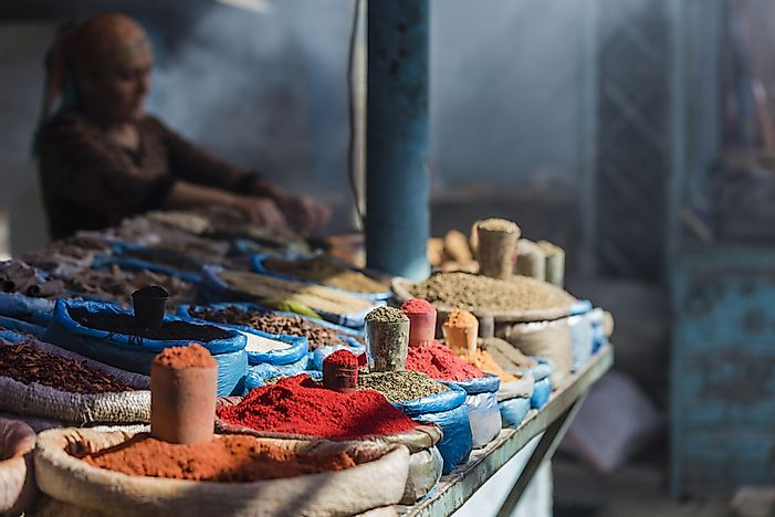 Spices in the bazaar at Osh.