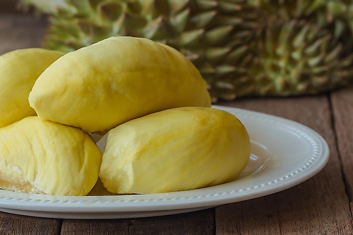 Peeled durian fruit.