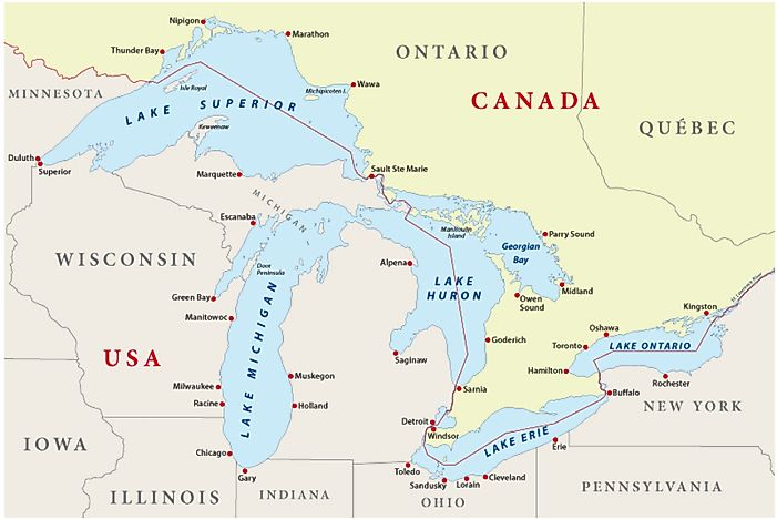 Lakes Of Canada Map.The Eight Us States Located In The Great Lakes Region Worldatlas Com