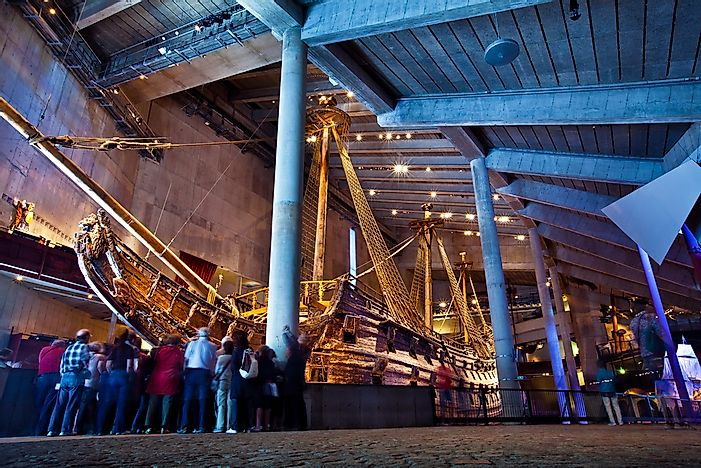 Tourists take in the exhibits at the Vasa Museum, one of Stockholm's most famous.