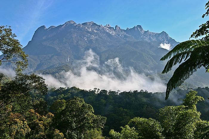 Mount Kinabalu is the highest point on the island of Borneo.