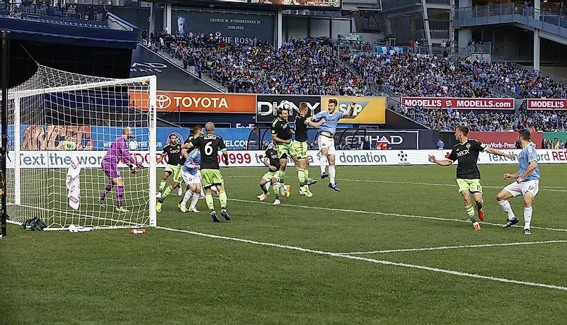 The Seattle Sounders in their distinct blue and green uniforms. Editorial credit: lev radin / Shutterstock.com