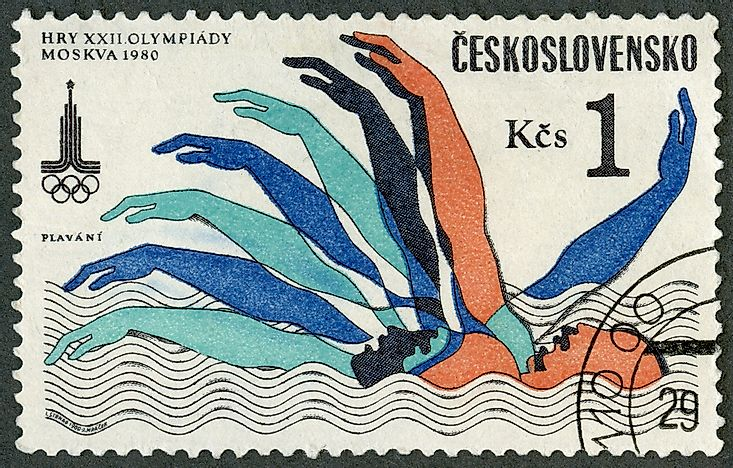 A stamp printed in Czechoslovakia commemorates the Olympic Summer Games in Moscow. Photo credit: Olga Popova / Shutterstock.com.