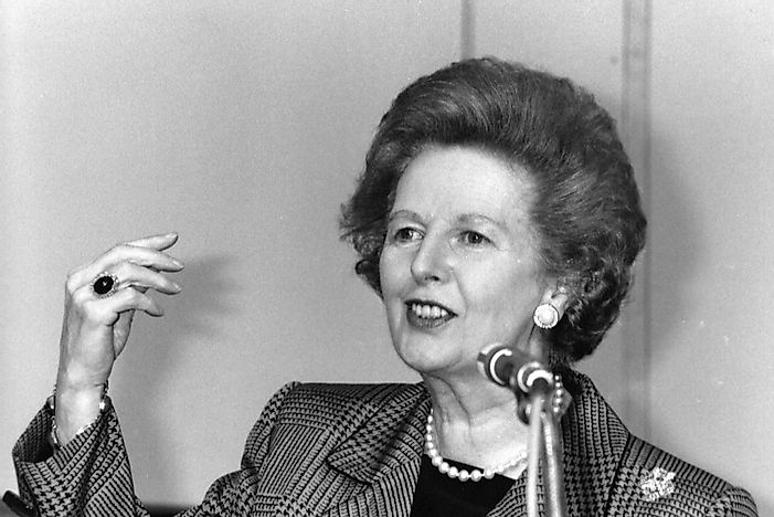 Former British Prime Minister Margaret Thatcher speaking in London, England. Editorial credit: David Fowler / Shutterstock.com