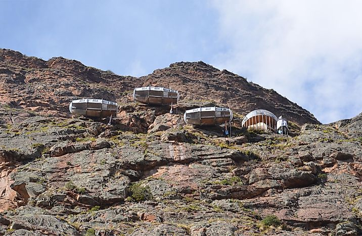 View of Naturavive Skylodge Adventure Suites near Ollantaytambo. Editorial credit: Susan Montgomery / Shutterstock.com