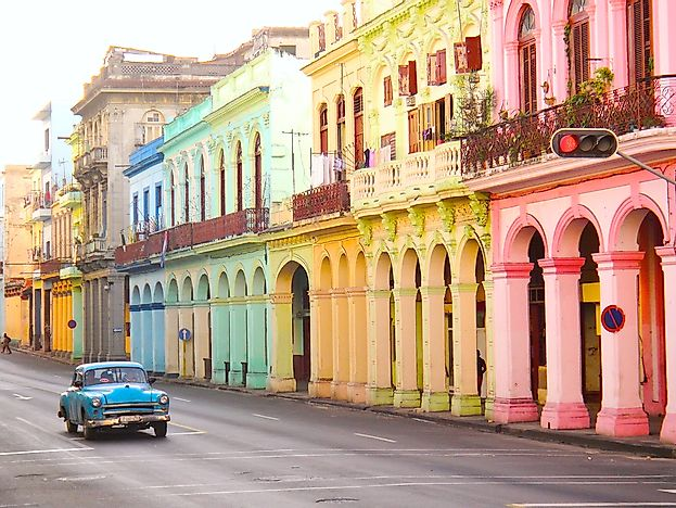 Colorful houses of Havana, Cuba.