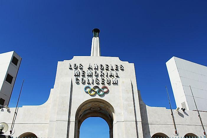 The Los Angeles Memorial Coliseum, which housed both the 1932 and 1984 Summer Olympics. Photo credit: Barbara Kalbfleisch / Shutterstock.com.