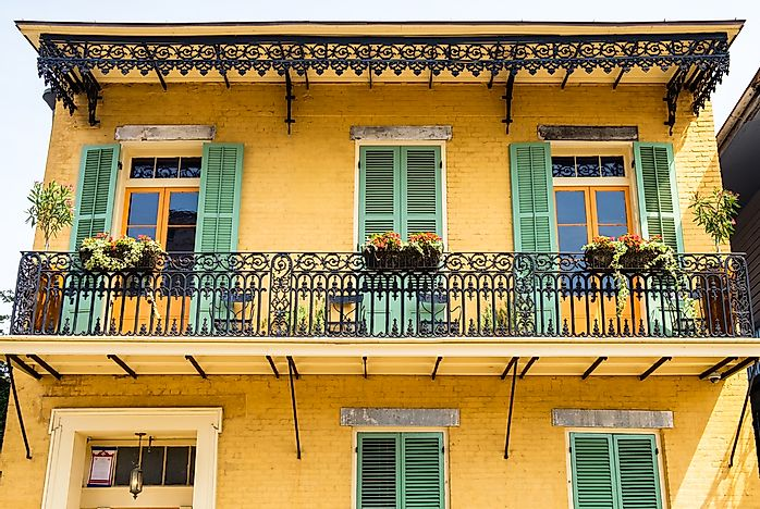 Architecture in the French Quarter of New Orleans.