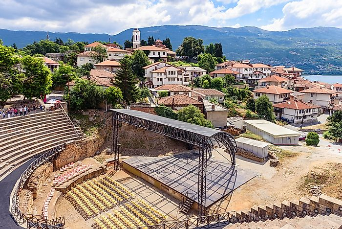 A view of Ohrid's ancient amphitheatre and historic city center.