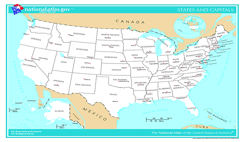 Capital Cities Of The US States WorldAtlascom - Capital cities on map of us