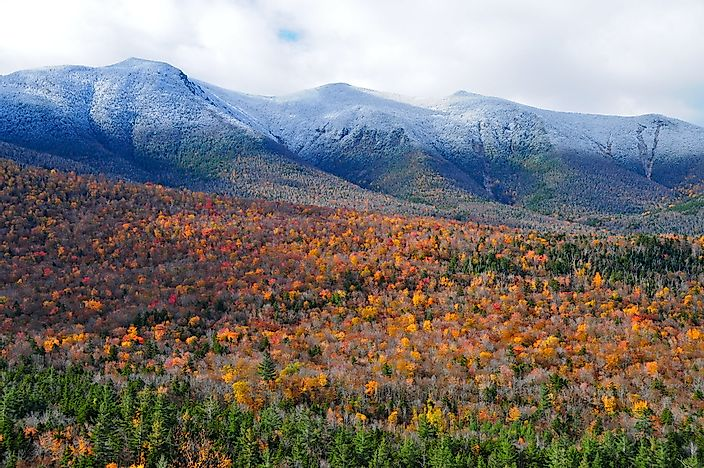 White capped mountains of the White Mountains mountain range in New Hampshire.