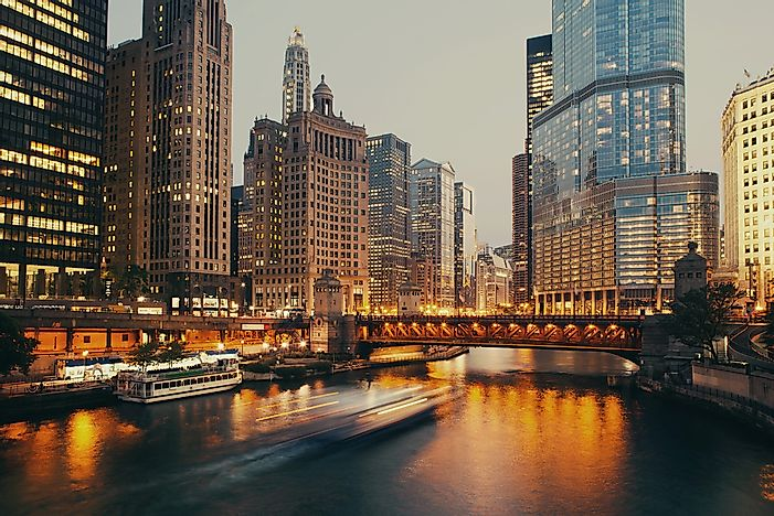 Chicago at dusk.