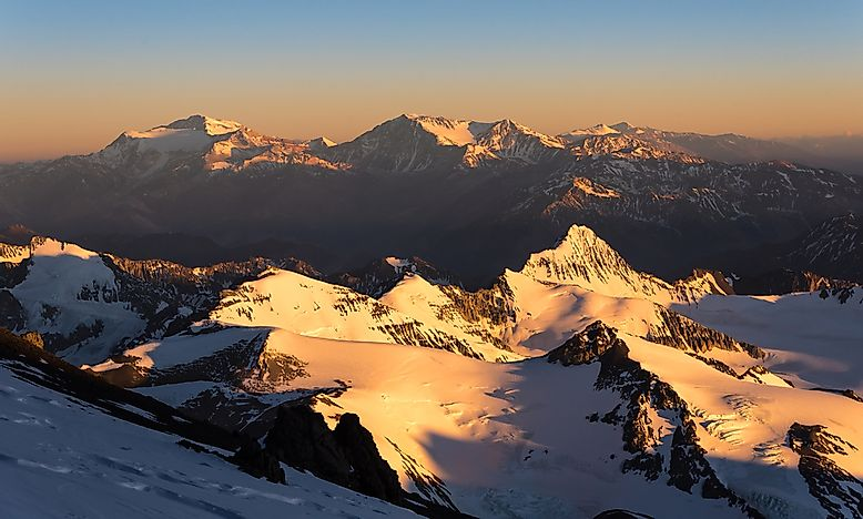 Sunrise view of the Argentinian Andes from Mt. Aconcagua.