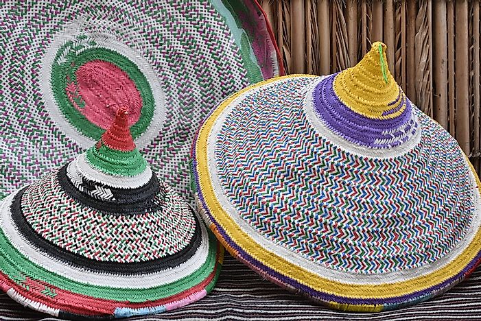 Traditional Omani braided baskets.