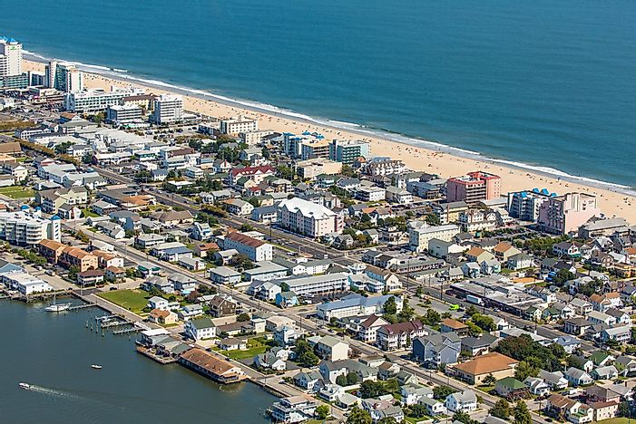 Aerial view of Ocean City Beach, Maryland.