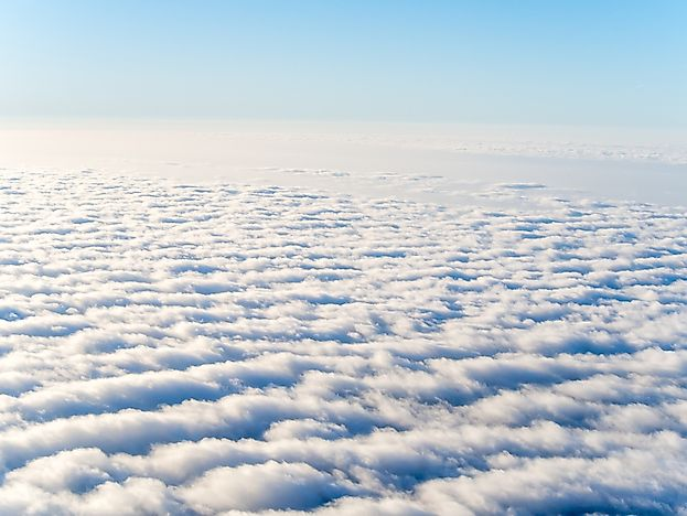 Stratocumulus clouds seen from an airplane.