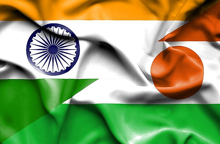 The flag of India, left, and the flag of Niger, right.
