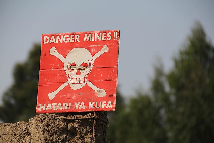 A sign warns of landmines in the Democratic Republic of the Congo.