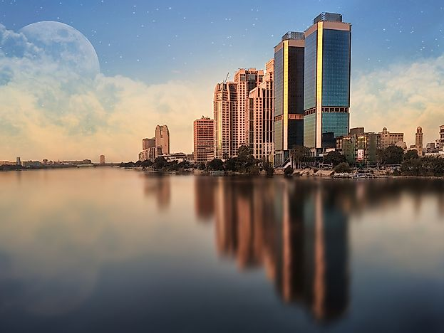The skyline of Cairo is seen here on the Nile River.