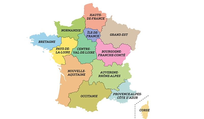 New Map Of France.The New 13 Regions Of France Worldatlas Com