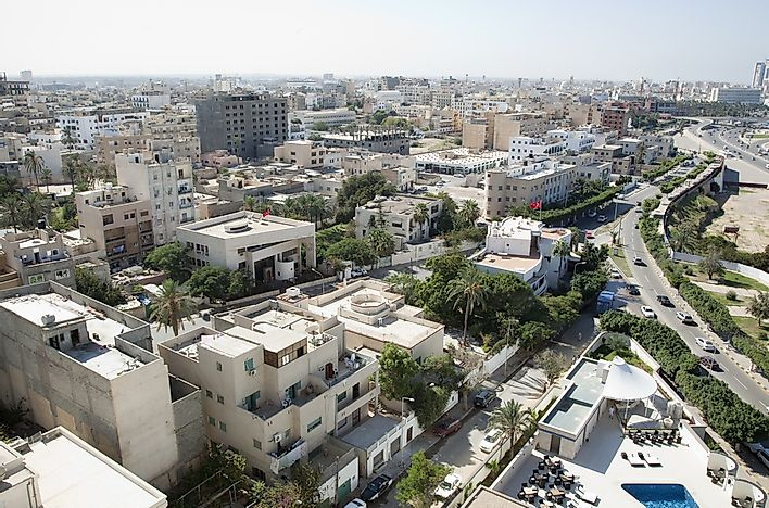An aerial view of the city of Tripoli, Libya.