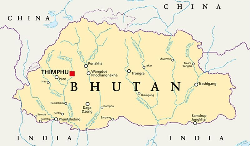 Countries Bordering China Map.Which Countries Border Bhutan Worldatlas Com