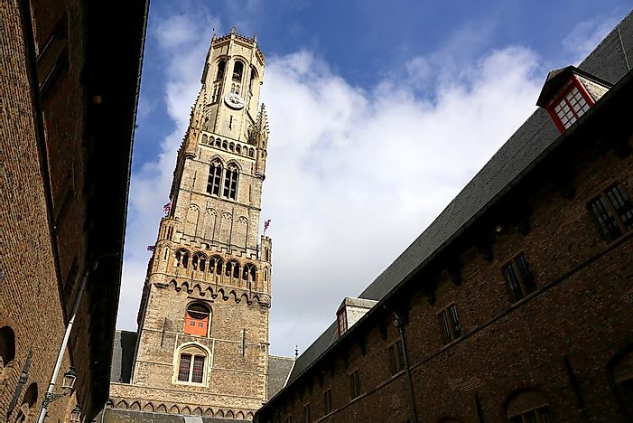 The leaning Belfry of Bruges in Belgium.