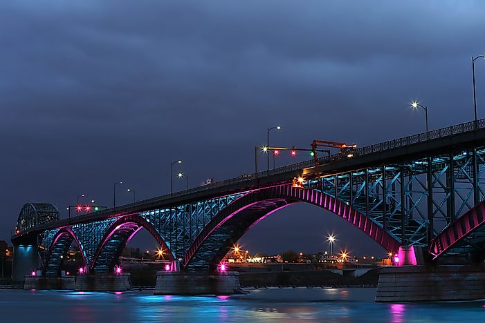 The Peace Bridge connects Buffalo, New York and Fort Erie, Ontario.