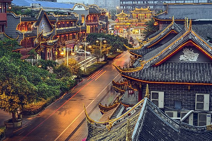 The Old Town of Chengdu at night.